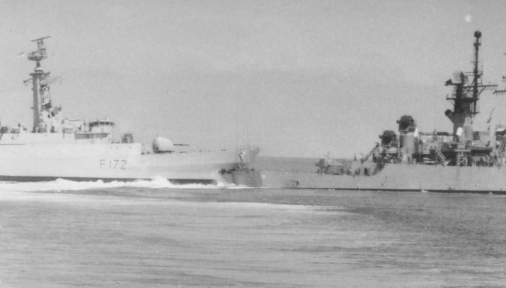 HMS Ambuscade collides with USS dale in 1983